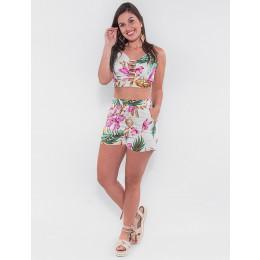 Conjunto Cropped e Shorts Atacado Flores Rosa Feminino Revanche São Domingos 2 Off White Frente