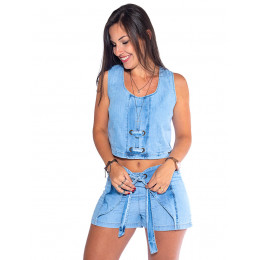 Conjunto Jeans Atacado Blusa + Shorts Feminino Revanche Long Beach Frente