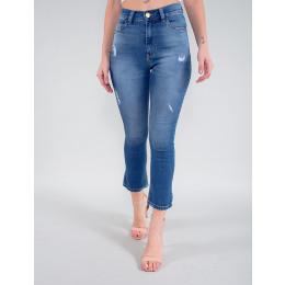 Calça Jeans Atacado Capri Feminina Revanche Bacu Azul Frente