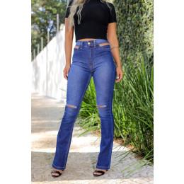 Calça Jeans Atacado Flare Cut Out Pocket Feminina Revanche Tâmara Azul Frente