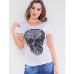 Camiseta Atacado Caveira Feminina Revanche Eslovénia Branco Frente