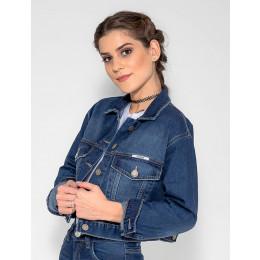 Jaqueta Jeans Atacado Cropped Feminina Revanche Trinidad Frente