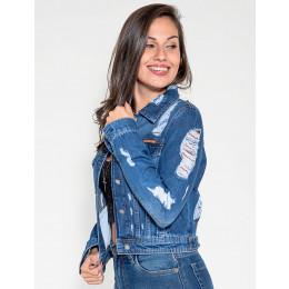 Jaqueta Jeans Atacado Destroyed Feminina Revanche Sstar Frente