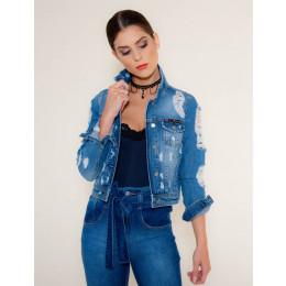 Jaqueta Jeans Atacado Detonada Feminina Revanche Los Angeles Azul Frente