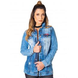 Jaqueta Jeans Atacado Maxi Feminina Revanche Houston Frente