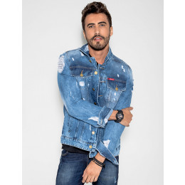 Jaqueta Jeans Destroyed Masculino Revanche Monaco Frente