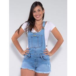 Jardineira Jeans Atacado Feminina Revanche Jenina Azul Frente Detalhe