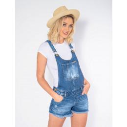 Jardineira Shorts Jeans Atacado Barra Desfiada Feminina Revanche Douai Frente