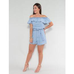 Macaquinho Jeans Atacado Feminino Revanche Fealty Azul Frente