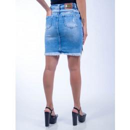 Saia Jeans Atacado Barra Desfiada Feminina Revanche Minsque Frente