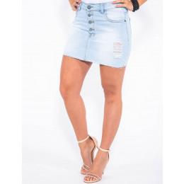 Saia Jeans Atacado Cintura Alta Botão Aparente Revanche Bamaco Frente