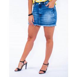 Saia Jeans Atacado Cintura Alta Feminina Revanche Juba Frente