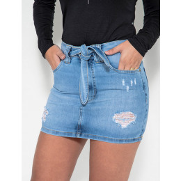 Saia Jeans Atacado Com Cinto Feminino Revanche São Vicente Frente