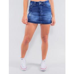 Saia Shorts Jeans Atacado Feminino Revanche Bósnia Azul Frente