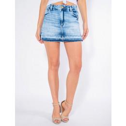 Saia Shorts Jeans Atacado Barra Desmanchada Feminina Revanche Cannes Frente