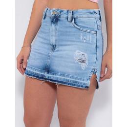 Saia Shorts Jeans Atacado Feminina Revanche Lela Azul Frente Detalhe