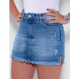 Saia Shorts Jeans Atacado Feminino Revanche Brielle Azul Detalhe Lado