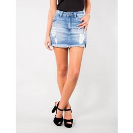 Saia Shorts Jeans Atacado Frente Tradicional com Barra Desfiada Revanche Milan Frente
