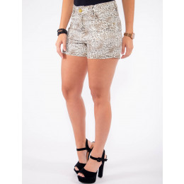 Shorts Atacado Estampado Onça Feminino Revanche Kingstown Animal Print Frente