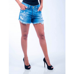 Shorts Jeans Atacado Barra Desfiada Feminino Revanche Turim Frente