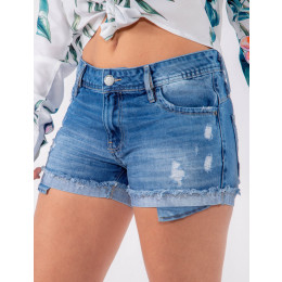 Shorts Jeans Atacado Bolso Zíper Feminino Revanche Beirute Azul Frente