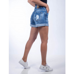 Shorts Jeans Atacado Bordado Feminina Revanche Open Eye Samoa Frente
