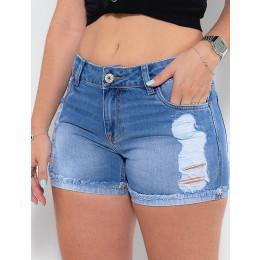 Shorts Jeans Atacado Boyfriend Feminino Revanche Elisabeth Azul Detalhe Frente