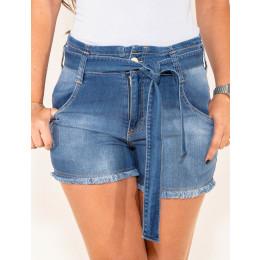 Shorts Jeans Atacado c/ Cinto-Laço Feminino Revanche Laus Frente
