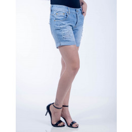 Shorts Jeans Atacado Claro Barra Virada Feminino Revanche Namíbia Frente