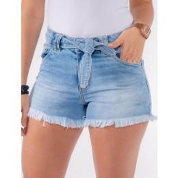 Shorts Jeans Atacado com Laço Feminino Revanche Jibuti Azul Frente