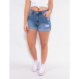 Shorts Jeans Atacado Feminino Revanche Elisamarie Azul Frente