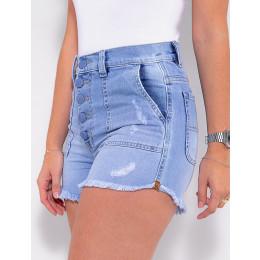 Shorts Jeans Atacado Feminino Revanche Giverny Azul Detalhe Frente