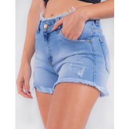 Shorts Jeans Atacado Feminino Revanche Tobago Azul Detalhe Lado