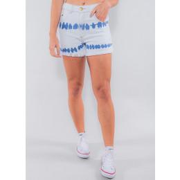 Shorts Jeans Atacado Tie Dye Feminino Revanche Azerbaijão Azul Claro Frente