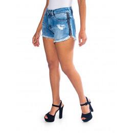 Shorts Jeans Atacado Ziper Lateral Feminino Revanche Nice Lateral