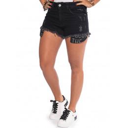 Shorts Jeans Black Atacado Forro Aparente Feminino Revanche Orleães Frente