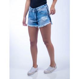 Shorts Jeans Curto Barra Desfiada Feminina Revanche Harare Frente