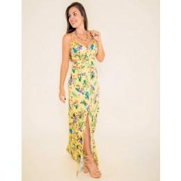 Vestido Atacado Floral Longo Feminino Revanche Tallen amarelo