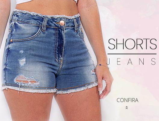 Banner Mosaico Shorts Jeans Feminino sl 0